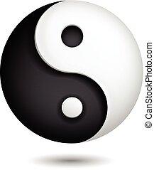 yin, symbol, wektor, yang