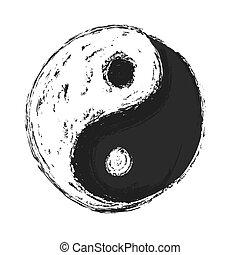 yin, vektor, yang, jelkép