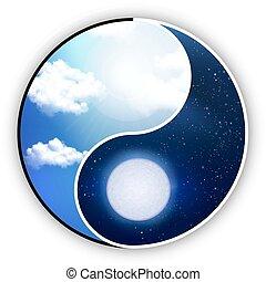yin y yang, es, el, día, eso, noche