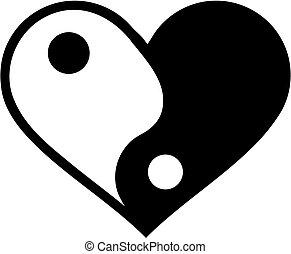 yin, yan, 心