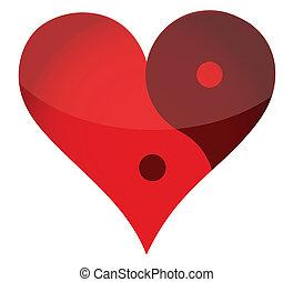 yin, yan, corazón