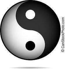 Yin-Yan vector symbol isolated on white background.