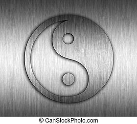 yin yang , μέταλλο , φόντο