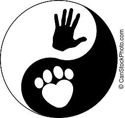 yin yang , χέρι , πέλμα ζώου