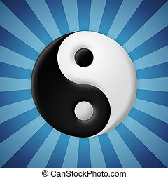 yin yang の記号, 上に, 青, 光線, 背景
