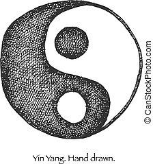 yin, yang., 手, ベクトル, eps8, drawn.
