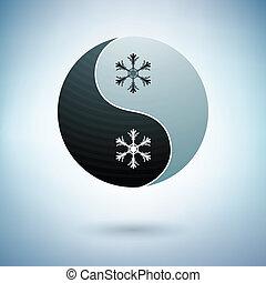 Yin yang and snowflakes