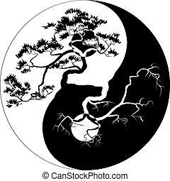 Yin Yang Bonsai - Black and white Bonsai tree on the Yin...