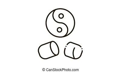 Yin Yang Capsule Icon Animation. black Yin Yang Capsule animated icon on white background