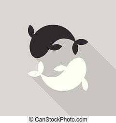 Yin yang carp fish, flat design with long shadow