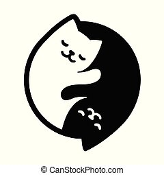 Yin Yang Cats. Simple and cute black and white cats in...