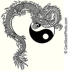 yin yang, dargon, bw, oostelijk