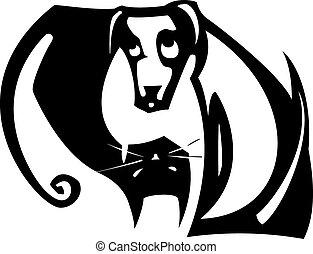 yin yang, dog, kat