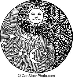 Yin yang  doodle, zentangl, moon at night