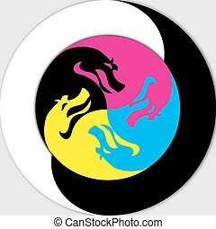 yin, -, yang, drak
