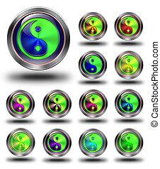 Yin Yang glossy icons, crazy colors