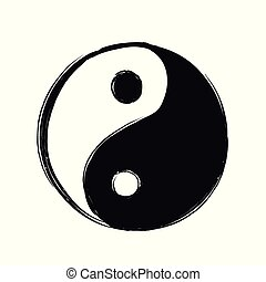 Yin Yang hand drawn symbol. Vector