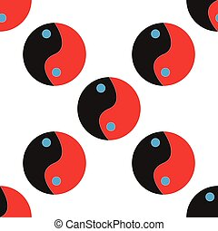 Yin Yang icon sign. Seamless pattern with geometric texture. Vector illustration
