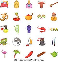 Yin yang icons set, cartoon style
