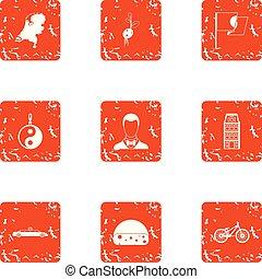 Yin yang icons set, grunge style - Yin yang icons set....