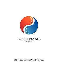 Yin yang logo icon vector template