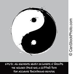 yin yang, -, művészi, söpör ütés