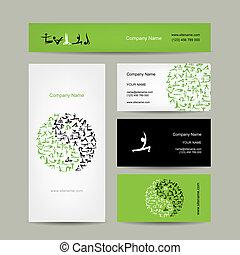Yin Yang made from yoga asana. Set of business cards design