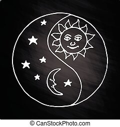 Yin yang moon at night on chalkboard