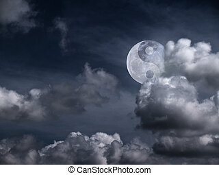 Yin Yang Moon - Moon with a sign of Yin Yang in the clouds