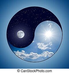 &, yin, -, yang, nacht, tag