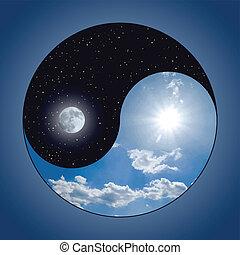 &, yin, -, yang, notte, giorno