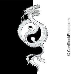 yin-yang, oriental, dragon