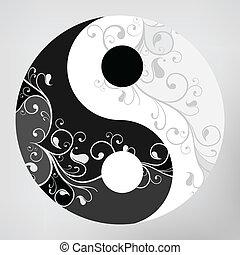 Yin yang pattern symbol on grey background, vector...