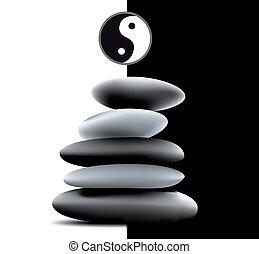 Yin Yang Pebble Stacks. Vector - Stone stacks made up of...
