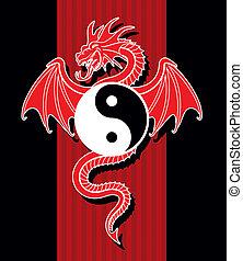 Flying Red Dragon hanging Yin Yang symbol.