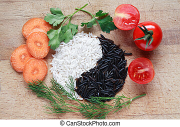 Yin Yang Rice Symbol - Yin Yang symbol made from black and...