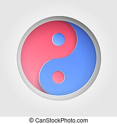 Yin yang sign icon cutout paper background