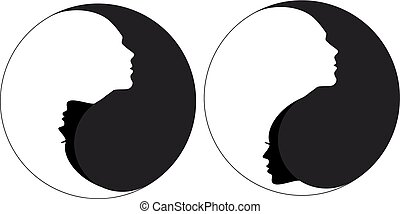 Yin yang symbol with man and woman, male and female faces, negative space vector illustration