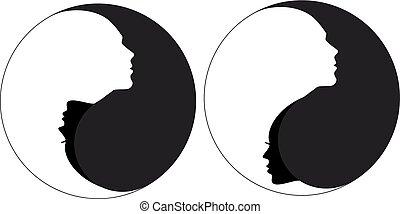 Yin yang sign man and woman, vector - Yin yang symbol with...