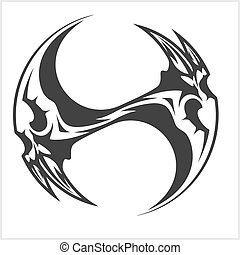 Yin Yang Skull - black and white tattoo design
