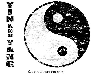 Grunge rubber stamp with the yin yang sign