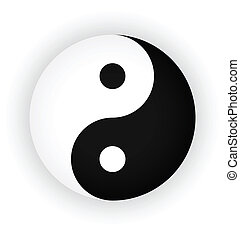 yin yang symbol as button or badge.