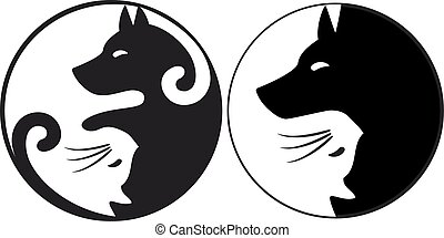 Yin yang symbol cat and dog, vector - Yin yang symbol with...