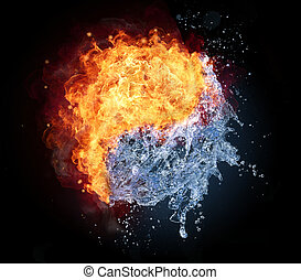 Yin Yang symbol made of water and fire, isolated on black...