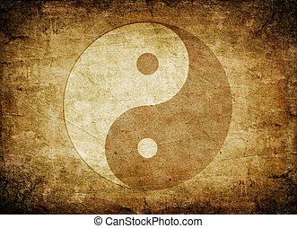 Yin Yang symbol - Grunge yin yang symbol background