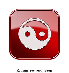 yin yang symbol icon glossy red, isolated on white background