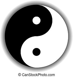 Yin Yang symbol icon in black and white