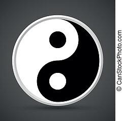 Yin Yang symbol icon isolated on dark grey background