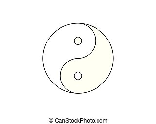 Yin Yang symbol icon vector isolated on white background.