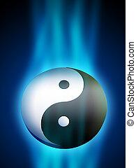Yin Yang symbol in a blue energy stream. Digital...